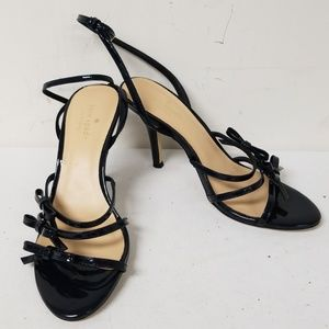 Kate Spade Black Bow Ankle Strap Heels Size 9